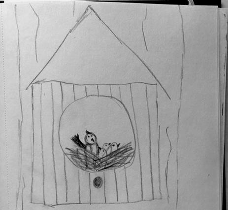 Schets vogelhuis - kinderboerderij boek - grafisch ontwerp - Dots and Lines