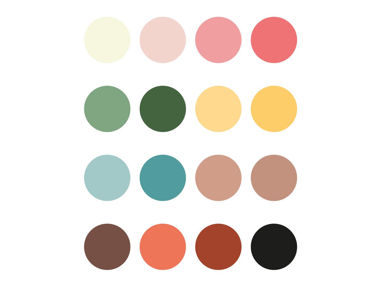 Kleuren palette - boekje De Mikkelhorst - grafisch ontwerp - Dots and Lines