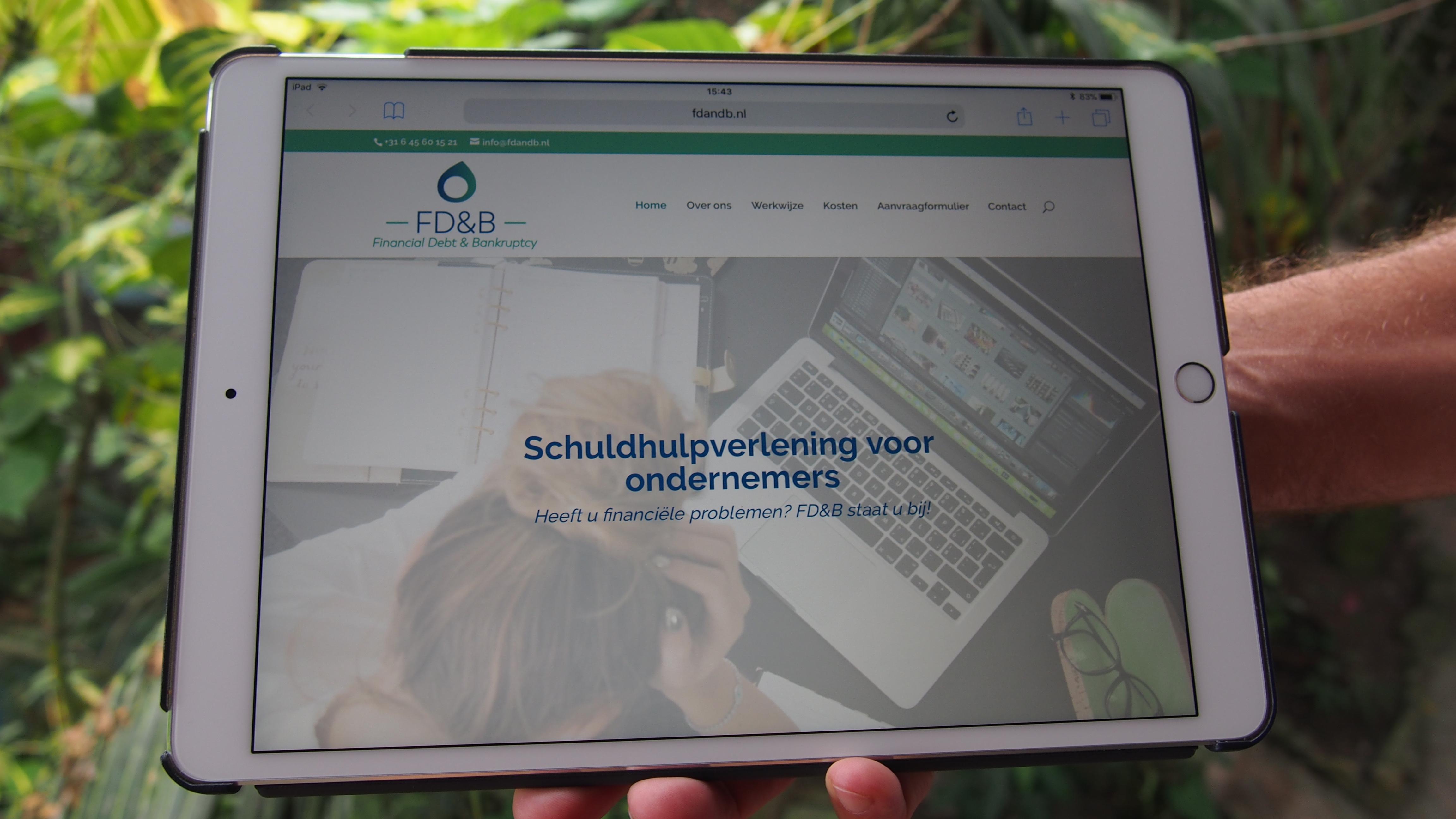 Website ontwerp voor FD&B - resultaat op iPad - grafisch ontwerp