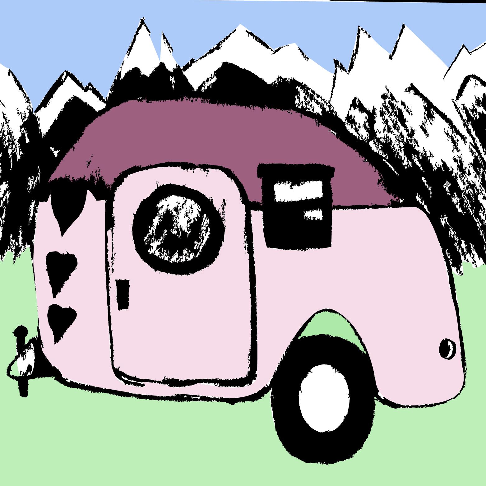 Illustratie camper - illustrator Dots & Lines - Tilburg