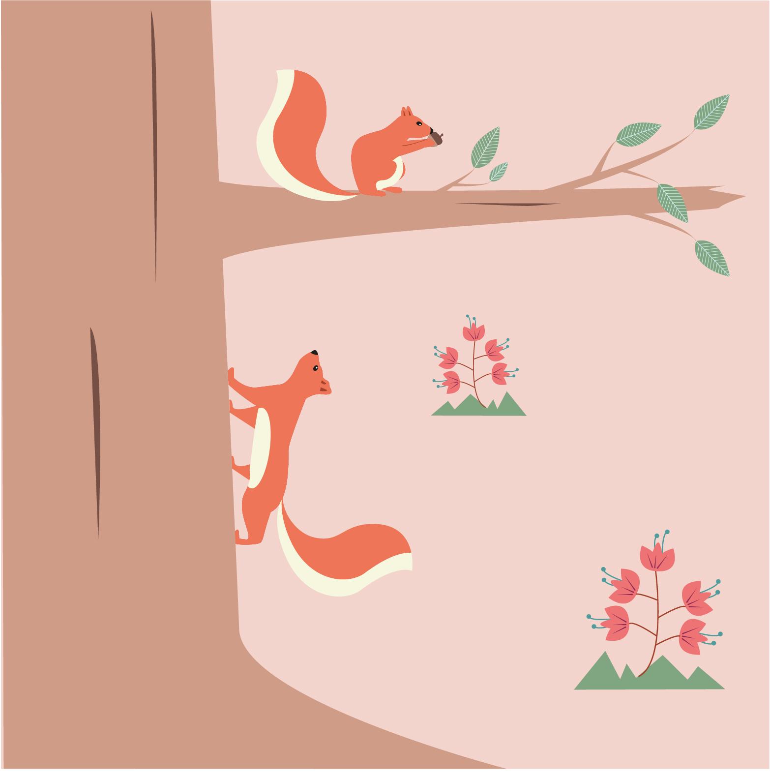 Illustratie eekhoorn -illustrator Dots & Lines - Tilburg